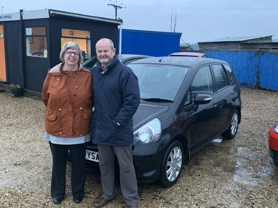 Stephen and Sarah collecting their new Honda Jazz